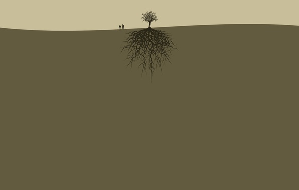 Picture roots, people, tree, earth, pair, two