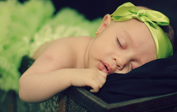Picture sleep, girl, bow, baby, child, baby, ribbon