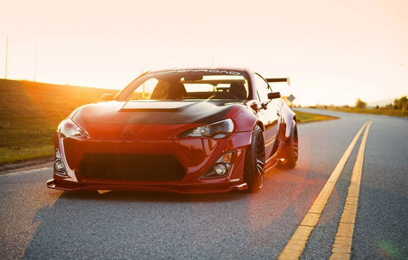 Picture car, tuning, red, toyota, tuning, brz, gt86, scion fs-r