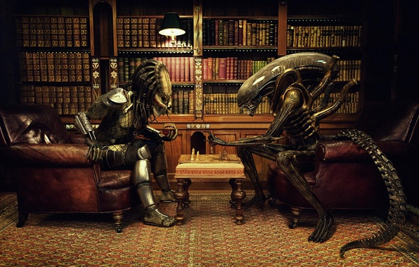 Picture chess, stranger, office, against, party, books, predator, alien vs predator