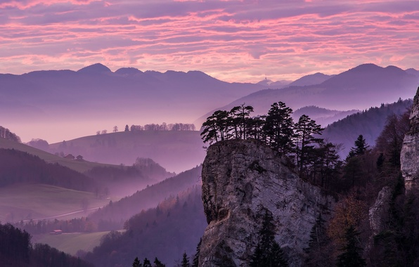 Picture the sky, clouds, trees, mountains, rock, house, valley