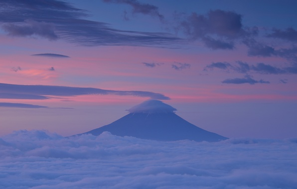 Picture the sky, clouds, sunset, mountain, the evening, the volcano, Japan, pink, Fuji, Honshu, Fuji, lilac, ...