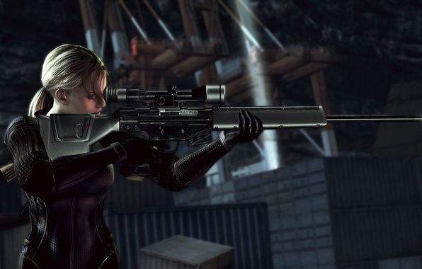Picture Girl, Night, Blonde, Weapons, Resident Evil, Sniper, Rifle, Tactical jumpsuit, Containers, Docks, Jill Valentine, Jill …