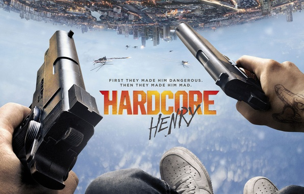 Picture the sky, the city, fiction, feet, guns, helicopters, hands, action, poster, Hardcore, Hardcore Henry