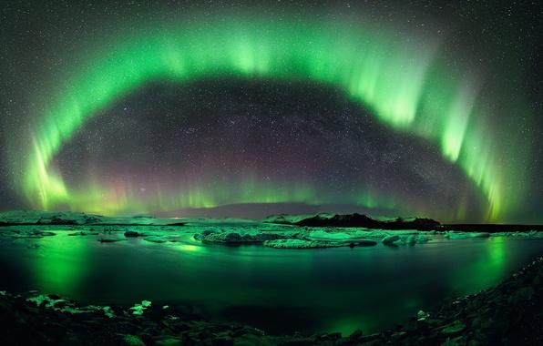 Picture ice, the sky, stars, lake, reflection, lights, Iceland, Jokulsarlon, polar