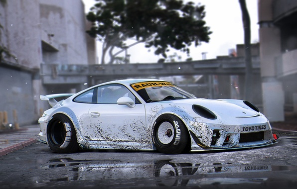 Picture 911, Porsche, Body, Tuning, Future, Silver, RWB, Wide, Kit, by Khyzyl Saleem, Murd