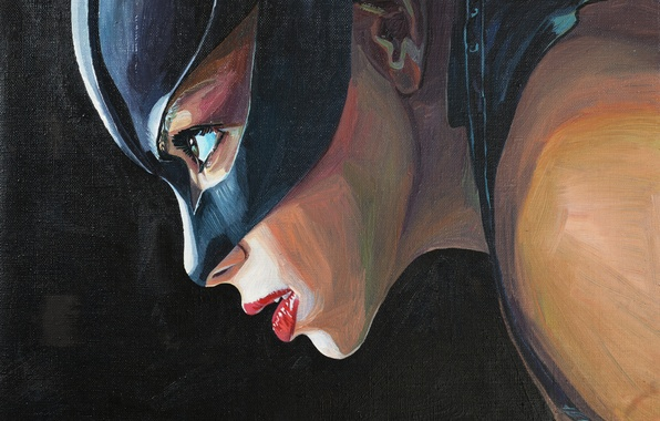 Picture cat, woman, oil, mask, canvas, painting, catwoman