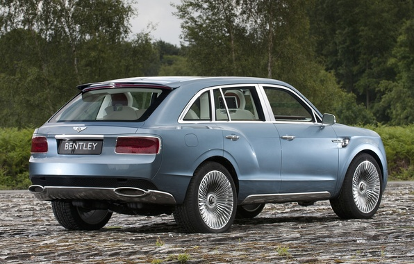 Picture road, Concept, trees, Bentley, jeep, rear view, crossover, Bentley.The concept, EXP 9 F