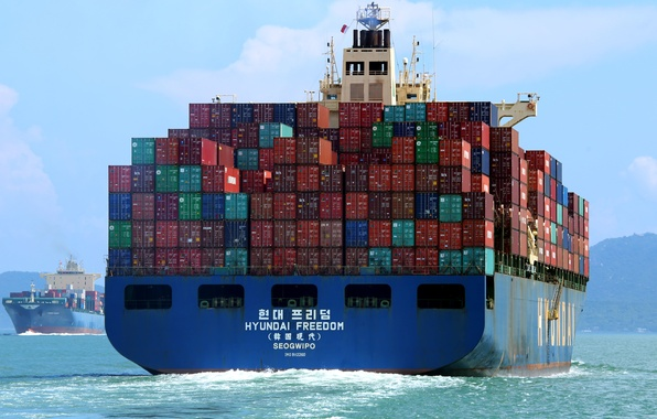 Picture sea, the ship, a container ship