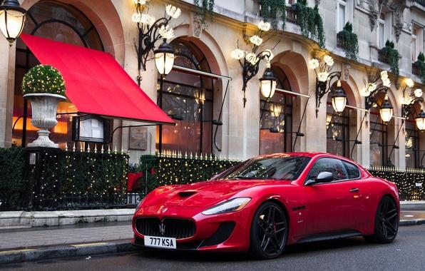 Picture red, street, the building, red, Maserati, street, building, Maserati GranTurismo