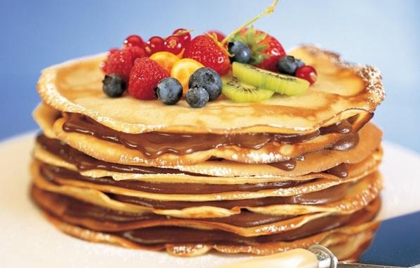 Picture berries, food, kiwi, strawberry, fruit, pancakes, dessert, carnival, filling