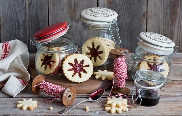 Picture snowflakes, food, cookies, sweets, banks, thread, jam, jam, Christmas
