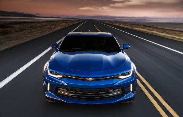 Picture sunset, blue, sunrise, speed, Chevrolet, camaro, chevrolet, Camaro