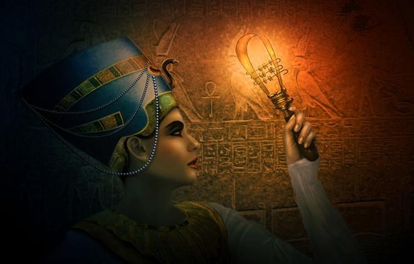 Picture girl, decoration, art, twilight, Egypt, Egyptian, Queen, Nefertiti, sistrum