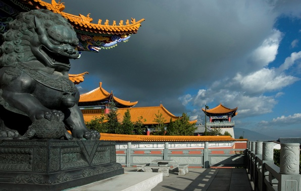 Picture the sky, clouds, dragon, home, China, sculpture