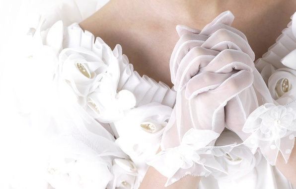 Picture hands, gloves, white, the bride