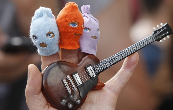 Picture guitar, parody, caps, Fingers, Pussy Riot