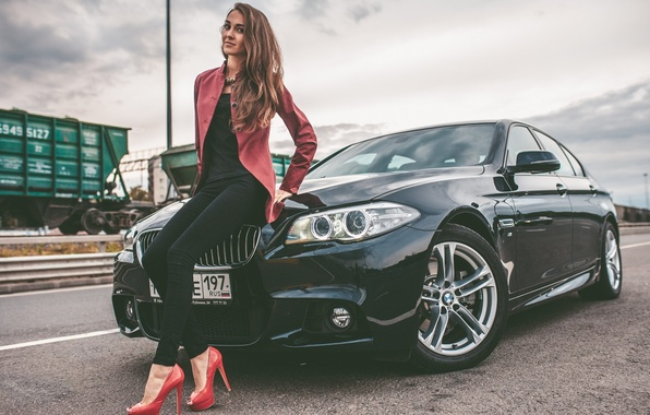 Picture BMW, Girl, Car, Legs, Model, Woman, View, Road, Hair, 528i
