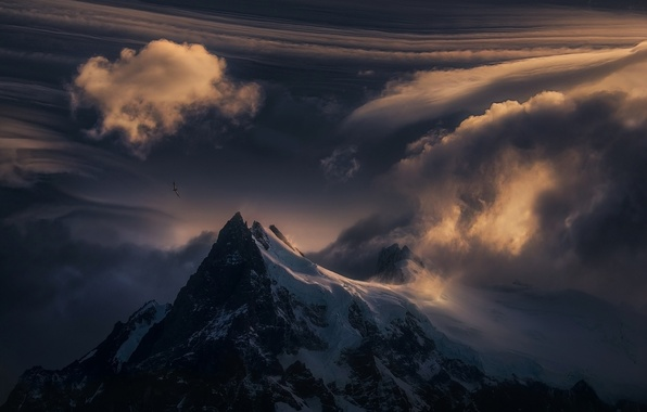 Picture clouds, snow, sunset, nature, mountain, top