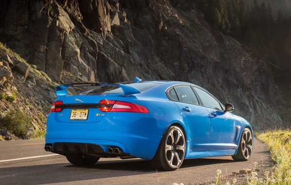 Picture road, ass, jaguar, blue, xfr-s