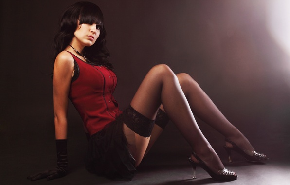 Picture girl, photo, skirt, stockings, brunette, shoes, gloves
