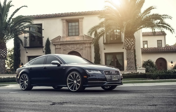 Picture Audi, The sun, Audi, Beautiful, Car, Car, Beautiful, Wallpapers, Tuning, Wallpaper, The front, Vossen