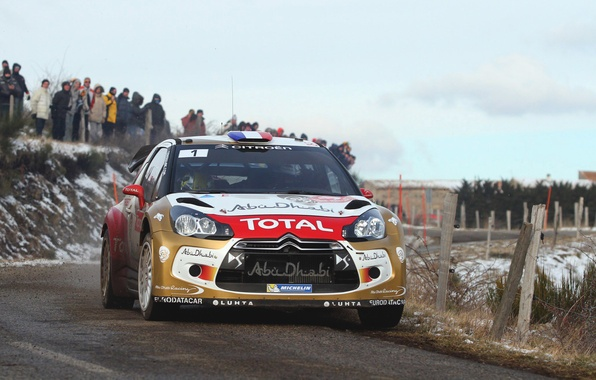 Picture Winter, Auto, Road, Sport, Machine, People, Turn, Race, Citroen, The hood, Citroen, DS3, WRC, Rally, …