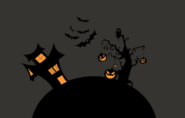 Picture night, tree, House, pumpkin, Halloween, bats, Halloween
