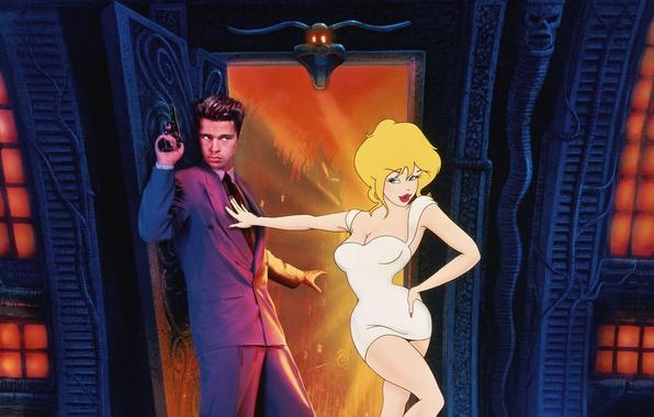 Picture the film, cartoon, fantasy, Brad Pitt, genre, Director, Comedy, 1992., cartoon-world., Cool World, adventuress, Gabriel …