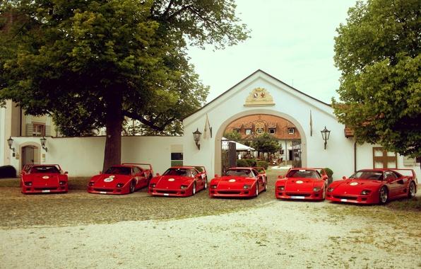 Picture trees, red, house, Ferrari, red, house, grass, Ferrari, the gates, tree, f40, F40, gate