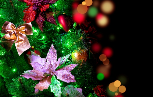 Picture decoration, flowers, glare, holiday, balls, lights, New year, bows, garland, holidays, winter, bokeh, New Year, …