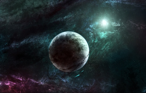 Picture color, space, nebula, the universe, planet, flash, stars, asteroids, ring, abyss, space ships