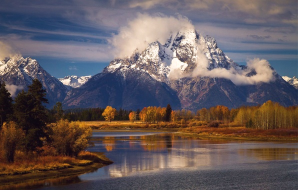 Picture autumn, the sky, clouds, trees, landscape, mountains, lake, blue, USA, national Park, Grand Teton, Wyoming