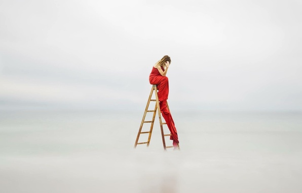 Picture girl, background, ladder