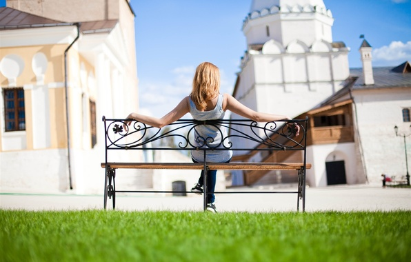 Picture BLONDE, GIRL, GRASS, BENCH, GREENS, The CITY, SPRING, HOME, BUILDING, GREEN, SHOP, LAWN, LAWN