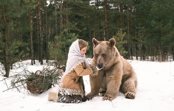 wallpaper winter forest girl bear images for desktop. Black Bedroom Furniture Sets. Home Design Ideas