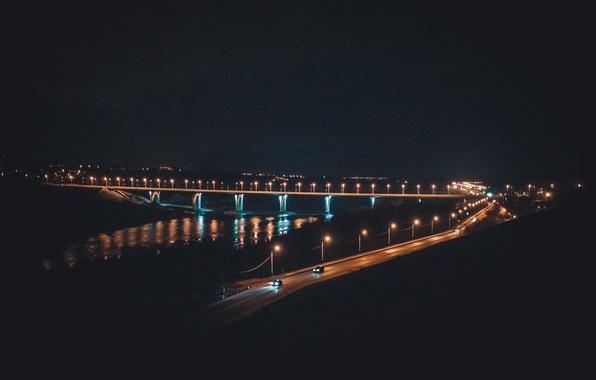 Picture night, bridge, the city, river, lights, Russia, Russia, Oka, Kaluga, Kaluga