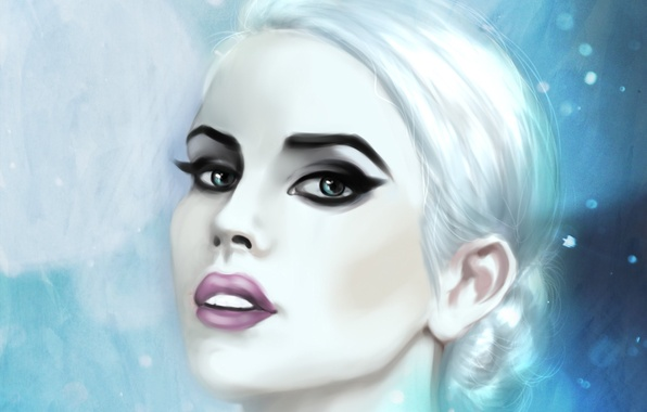 Picture cold, eyes, look, girl, snow, face, makeup, art, lips, white hair