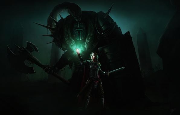 Picture girl, light, fiction, sword, armor, art, axe