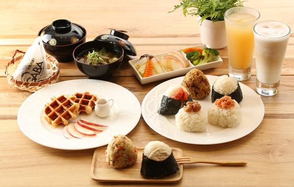 Picture Breakfast, soup, figure, drinks, vegetables, waffles, rolls
