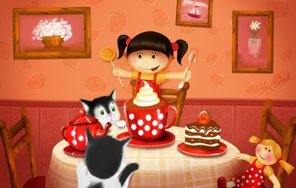Picture cats, table, tea, figure, doll, pie, girl, pictures, sweets, cake