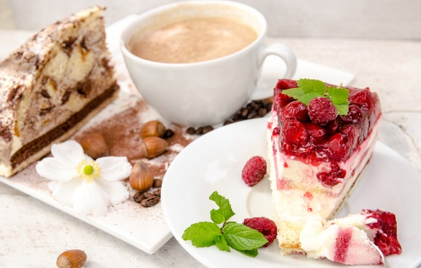 Picture berries, raspberry, coffee, food, chocolate, grain, Cup, cake, pieces, nuts, dessert, cakes