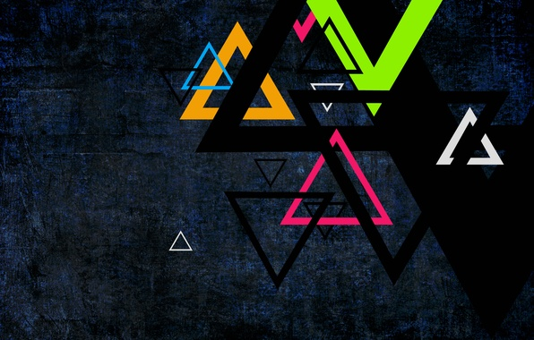Picture green, colors, red, Orange, triangles