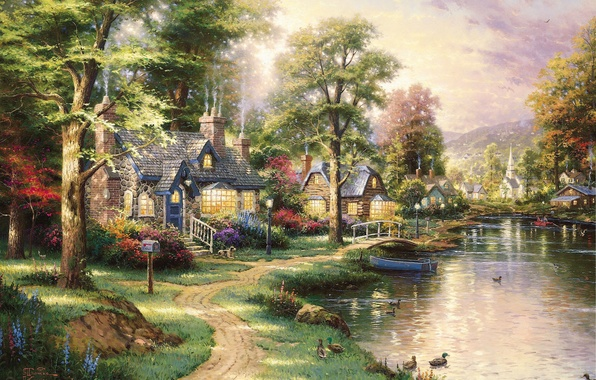Picture landscape, lake, boat, duck, picture, houses, painting, the bridge, path, beautiful, art, Thomas Kinkade, Hometown ...