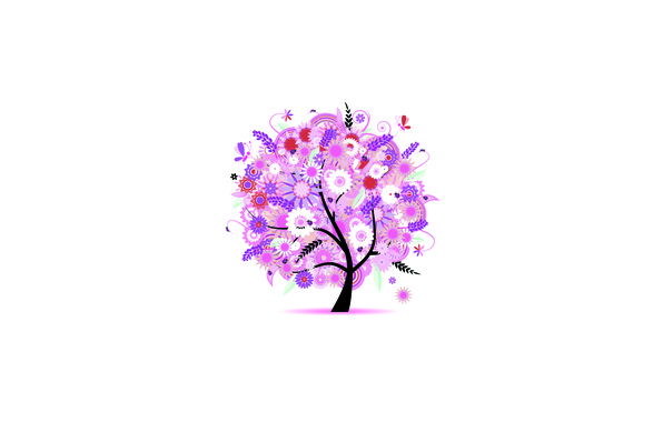 Picture leaves, butterfly, flowers, tree, spring