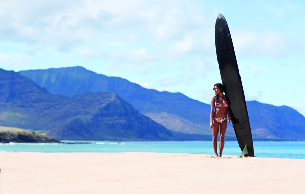 Picture sand, beach, swimsuit, girl, mountains, the ocean, Board, surfing
