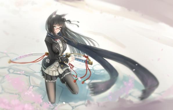 Picture girl, weapons, katana, anime, scarf, art, ears, kikivi