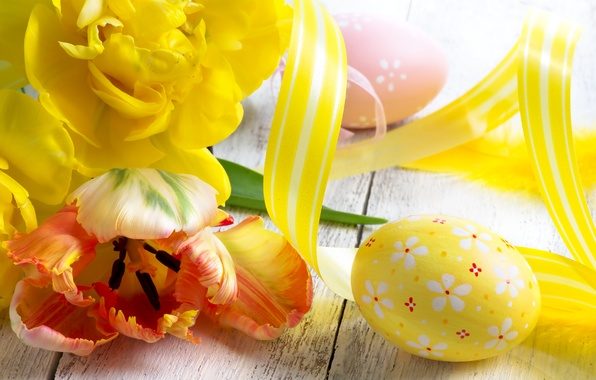 Picture photo, Flowers, Yellow, Tulips, Easter, Eggs, Holidays
