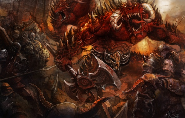 Picture weapons, fiction, monster, armor, art, mouth, horns, warriors, demons