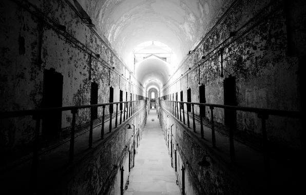 Picture photo, black and white, prison, abandoned building, Pennsylvania, Philadelphia, Аmerican prison
